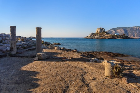 kos: Island Kastri and ruins on Kos, Greece Stock Photo