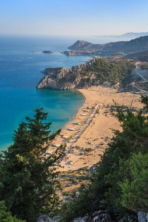 tsambika: Tsambika beach - the most popular tourist destination in Rhodes Stock Photo