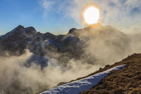 fagaras: Sunset over the Fagaras Mountains, Romania. In background the Negoiu Peak  2535m Stock Photo