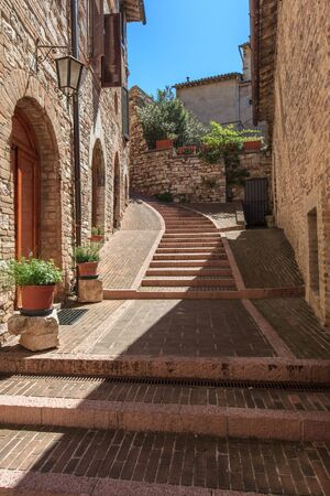 stepped: Medieval stepped street in the Italian hill town of Assisi