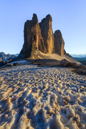 Tre Cime di Lavaredo at sunset, Dolomite Alps, Italy