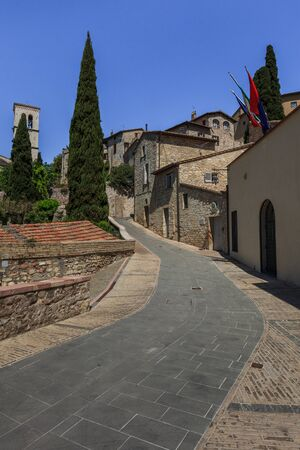 assisi: Medieval stepped street in the Italian hill town of Assisi