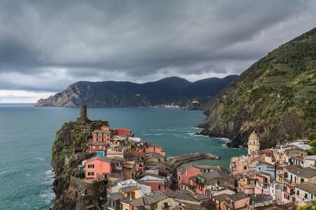 spezia: Vernazza fishermen village in Cinque Terre, Italy Stock Photo