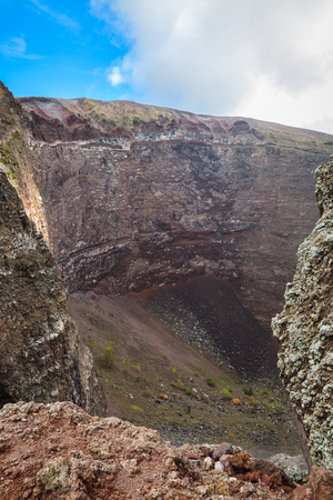 crater: View of Vesuvius crater in Naples, Italy