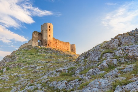 medieval: ruins of ancient Enisala royal castle in Dobrogea, Romania