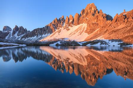 lago: Lago dei Piani at sunny morning, Tre Cime, Italian Dolomites Stock Photo