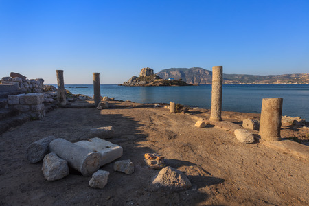 ancient near east: Archaeological site in front of a mediterranean beach (Agios Stefanos, Kos Island, Greece) Stock Photo