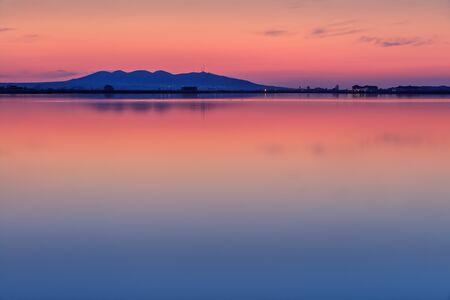 danube delta: after sunset in the Danube Delta , Romania Stock Photo