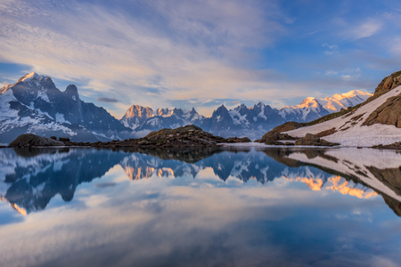 blanc: Mont Blanc Massif Reflected in Lac Blanc, Graian Alps, France