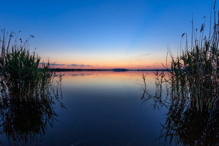 after sunset in the Danube Delta , Romania Stock Photo