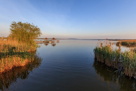 delta: beautiful sunrise in the Danube Delta , Romania Stock Photo