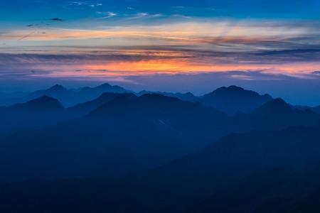 Sunset over the Fagaras Mountains, Romania. View from Moldoveanu Peak  2544m.