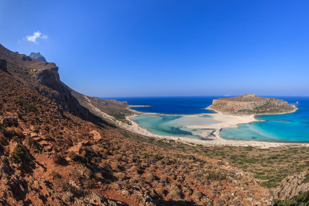 panoramic view of the most beautiful beach of the Crete - Balos lagoon Stock Photo