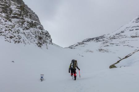 climbers on the mountain. Fagaras Mountains, Romania