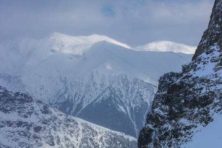 landscape mountain in winter. Fagaras Mountains, Romania Stock Photo