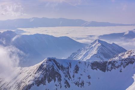 mountain landscape in winter. The Fagaras Mountains, Romania