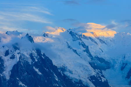 Mont Blanc is the highest mountain of historic Europe (4810 m altitude) Stock Photo