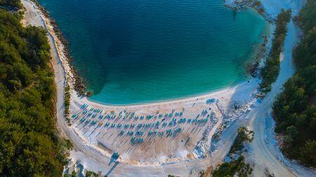 mediteranean: Aerial view of Porto Vathy Marble Beach in Thassos Island, Greece Stock Photo
