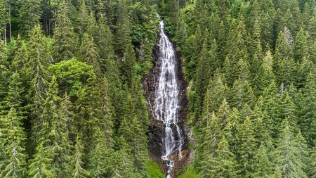 Waterfall Tumultuous in the Bad Valley. Fagaras Mountains, Romania