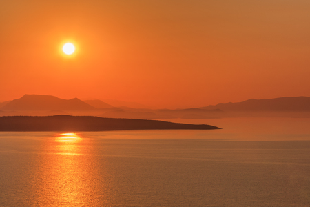 sunrise in Ionian Islands. Lefkada island Greece Stock Photo