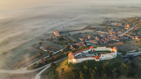Aerial view of the Feldioara fortress. Transylvania, Romania Editorial