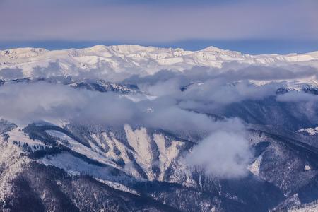 mountain landscape in winter. Fagaras Mountains, Romania Stock Photo