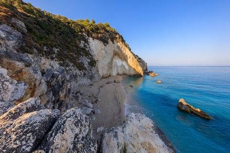 view from Cape Nikita to little beach. Agios Nikitas. Lefkada, Greece Stock Photo