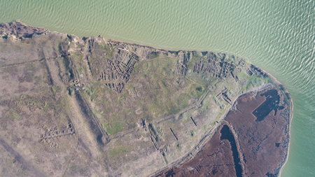 Roman ruins of Argamum (Organe) citadel. Dobrogea Romania. Aerial view. Stock Photo