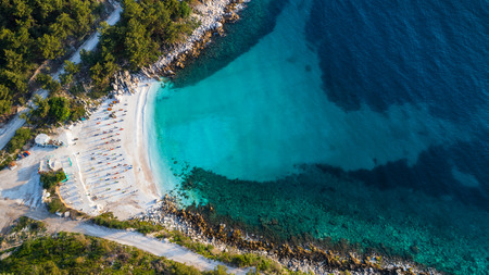 Aerial view of Marble beach. The most beautiful white beach in Greece Stock Photo