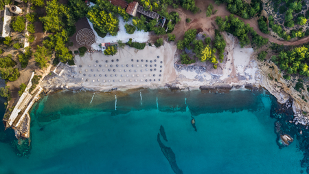 aerial view of Metalia beach. Thassos island, Greece Standard-Bild