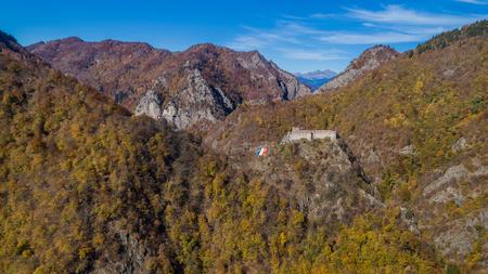 aerial view from ruined Poenari fortress, Romania