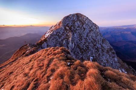 mountain landscape in sunrise. Piatra Craiului Mountains, Romania