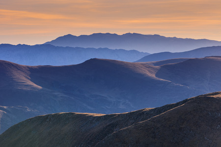 mountain landscape in sunrise. Fagaras Mountains, Romania