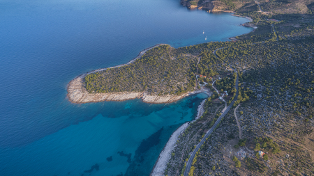 aerial view of Isidora beach. Thassos island, Greece