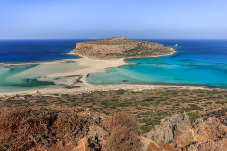 panoramic view of the most beautiful beach of the Crete - Balos lagoon Imagens