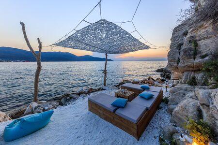 beach in head of Evreokastro in Limenas. Thassos, Greece