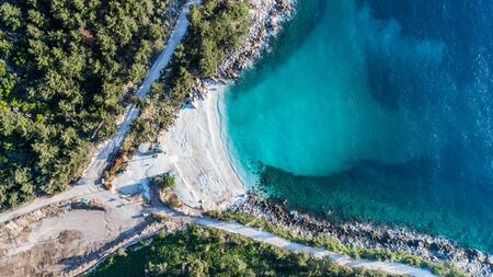 aerial view of Marble beach. The most beautiful white beach in Greece Stok Fotoğraf