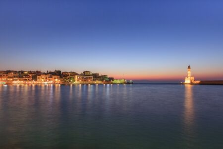 view of the old port of Chania in night. Crete, Greece