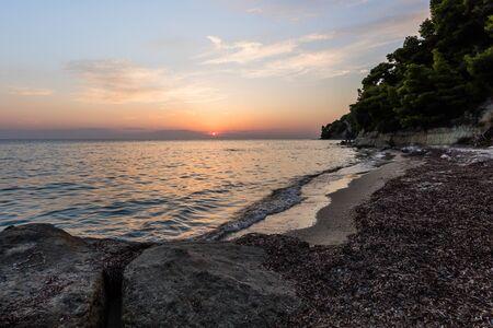 wild beach in Kassandra peninsula. Halkidiki, Greece