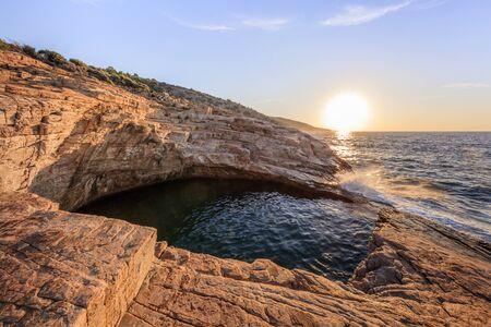 sunrise in Giola, natural sea water pool. Thassos island, Greece Stok Fotoğraf