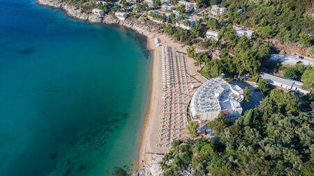 aerial view of Tosca beach near Kavala, Greece