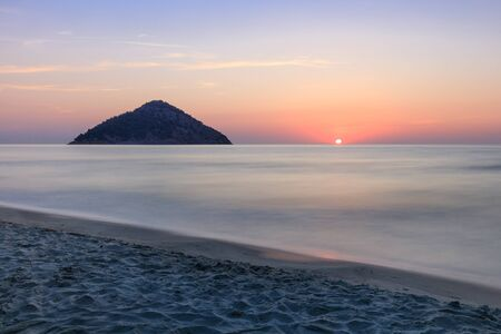 Paradise beach at sunrise. Thassos island Greece