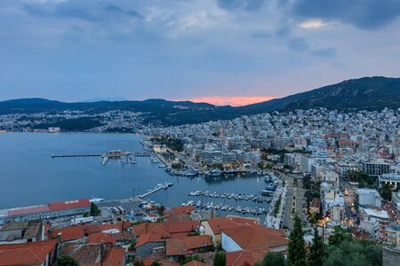 City of Kavala in Greece at sunset