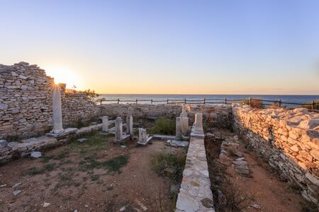 Ruins of ancient village in Archaeological site of Aliki. Thassos, Greece Stock fotó