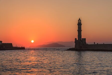view of the old port of Chania. Crete, Greece