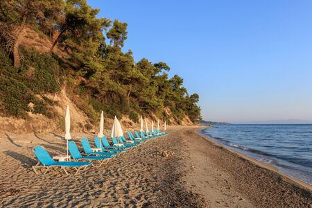 sunrise in Kriopigi beach. Kassandra of Halkidiki peninsula, Greece