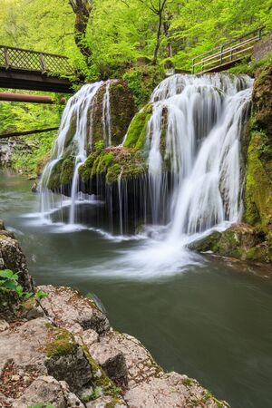 Waterfall Bigar. Located at the intersection with the parallel 45 in Romania. 写真素材 - 138836636
