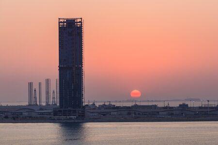 sunset in Dubai seaport. United Arab Emirates
