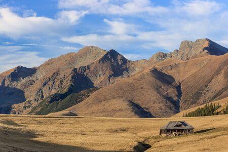 mountain landscape in Fagaras Mountains, Romania. In the background Lespezi Peak 2517m and Negoiu Peak 2535 m