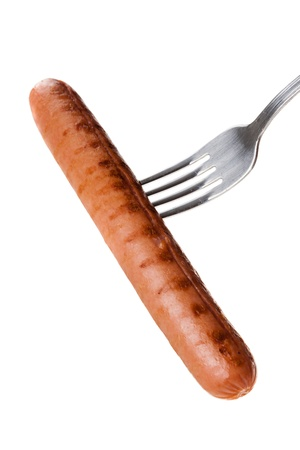 a delicious sausage on a fork over white Stock Photo